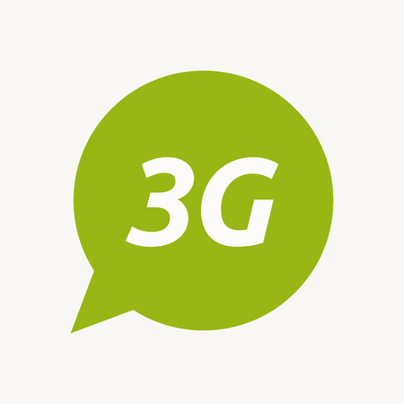 3g: Illustration of an isolated speech balloon with    the text 3G Illustration