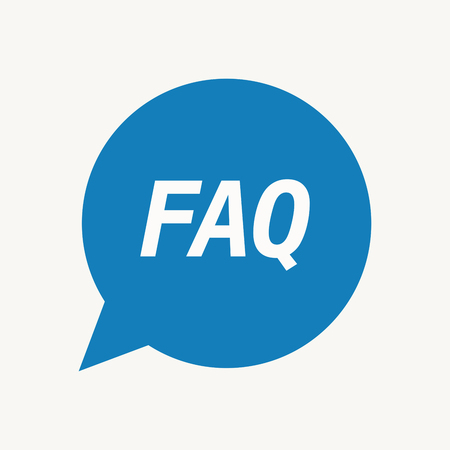Illustration of an isolated speech balloon with    the text FAQ