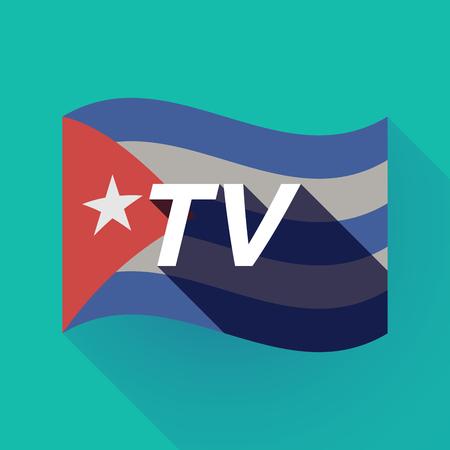 Ilustración de una larga sombra Cuba ondeando la bandera con el texto de TV