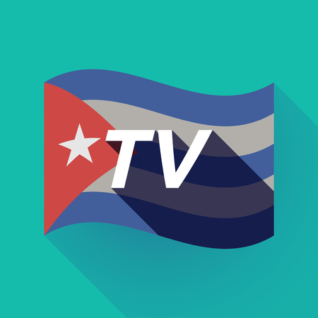 Illustration of a long shadow Cuba waving flag with    the text TV Illustration
