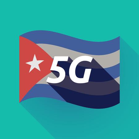 Ilustración de una larga sombra Cuba ondeando la bandera con el texto 5G