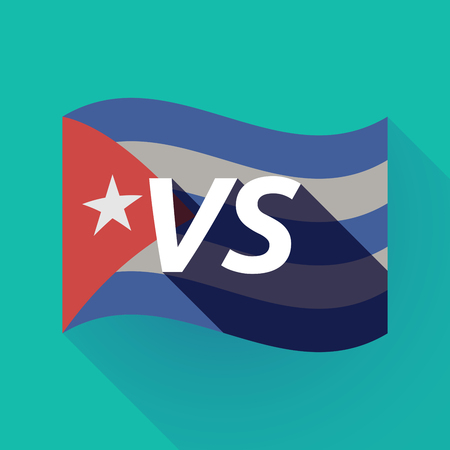 Illustration of a long shadow Cuba waving flag with    the text VS Illustration