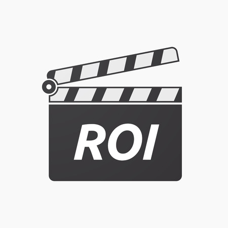 Illustration of an isolated clapper board with    the return of investment acronym ROI