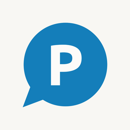 Illustration of an isolated speech balloon with    the letter P