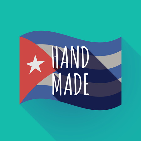 Illustration of a long shadow Cuba waving flag with    the text HAND MADE Ilustração