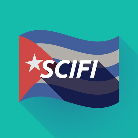 speculative: Illustration of a long shadow Cuba waving flag with    the text SCIFI