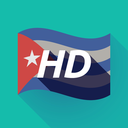 Illustration of a long shadow Cuba waving flag with    the text HD