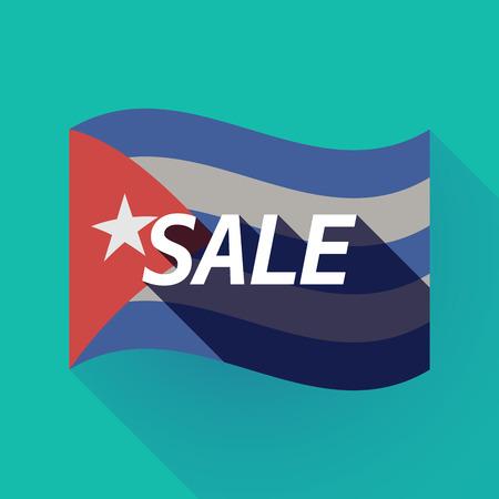 Ilustración de una larga sombra Cuba ondeando la bandera con el texto VENTA