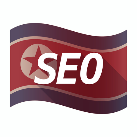 Illustration of an isolated North Korea flag with    the text SEO