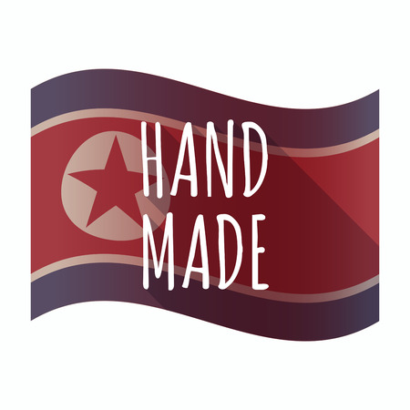 Illustration of an isolated North Korea flag with    the text HAND MADE