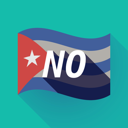 Illustration of a long shadow Cuba waving flag with    the text NO