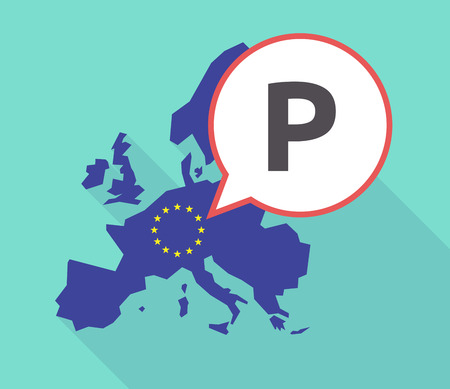 Illustration of a long shadow European Union, its flag and a comic balloon with    the letter P