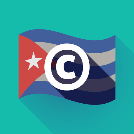Illustration of a long shadow Cuba waving flag with    the  copyright sign
