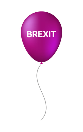 Illustration of an isolated air balloon with  the text BREXIT