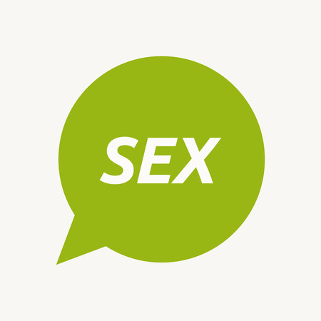 Illustration of an isolated speech balloon with    the text SEX