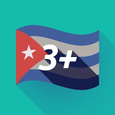 Ilustración de una larga sombra Cuba ondeando la bandera con el texto 3+ Vectores