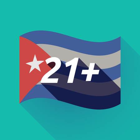 Illustration of a long shadow Cuba waving flag with    the text 21+