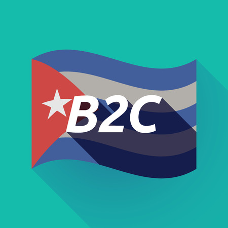 Illustration of a long shadow Cuba waving flag with    the text B2C Illustration