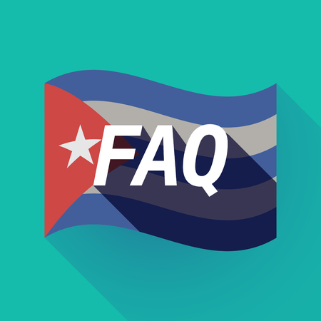 Illustration of a long shadow Cuba waving flag with    the text FAQ