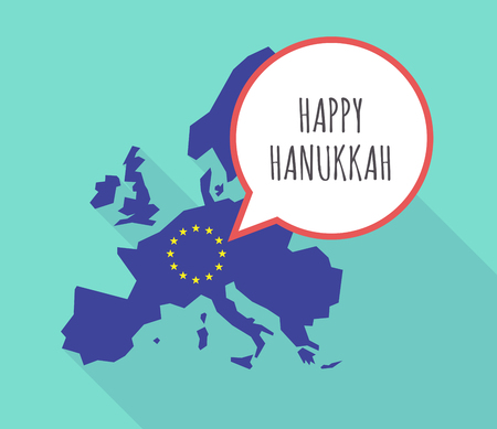 jewish community: Illustration of a long shadow European Union, its flag and a comic balloon with    the text HAPPY HANUKKAH