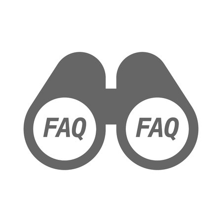 Illustration of an isolated binoculars with    the text FAQ