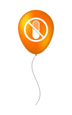 interdiction: Illustration d'un ballon à air isolé avec une pilule dans un signal interdit