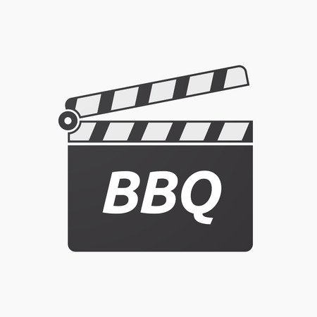 Illustration of an isolated clapper board with    the text BBQ Illustration