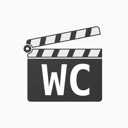 Illustration of an isolated clapper board with    the text WC