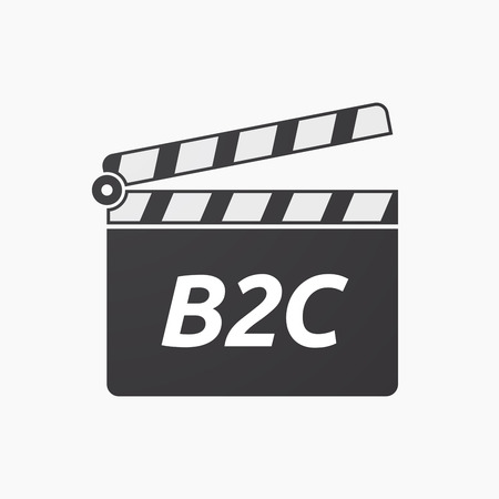 Illustration of an isolated clapper board with    the text B2C