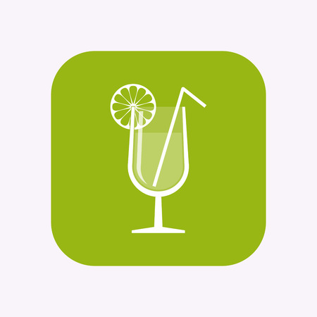 Illustration of a isolated square flat color button with  a cocktail glass with a slice of lemon and a straw Çizim