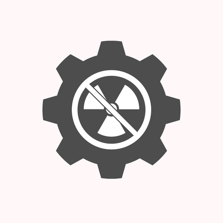Illustration of a isolated gear cog with  a radioactivity sign  in a not allowed signal