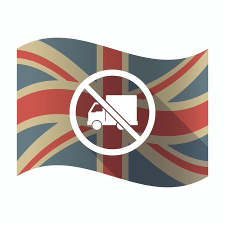 Illustration of a isolated long shadow United Kingdom flag with  a delivery truck  in a not allowed signal