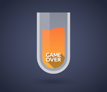 over lab: Illustration of a chemical test tube with  the text Game Over