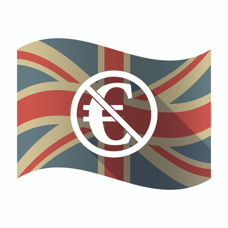 Illustration of a isolated long shadow United Kingdom flag with  an euro sign  in a not allowed signal