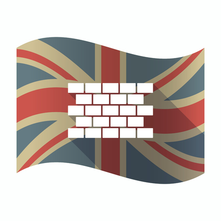 Illustration of a isolated long shadow United Kingdom flag with  a brick wall