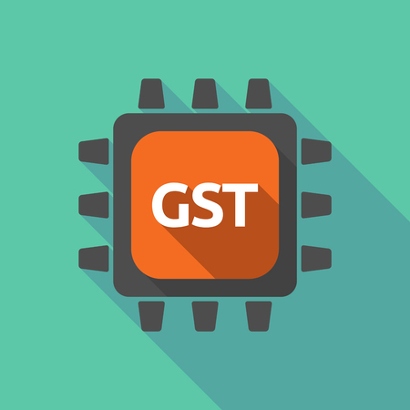 Illustration of a long shadow cpu with  the Goods and Service Tax acronym GST