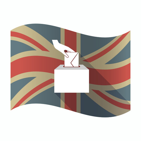 Illustration of a isolated long shadow United Kingdom flag with  a hand inserting an envelope in a ballot box Illustration