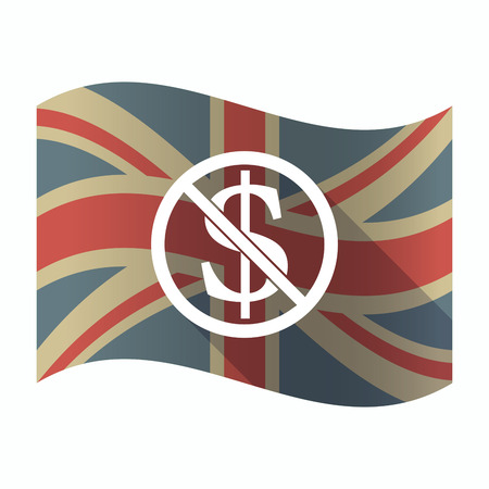 Illustration of a isolated long shadow United Kingdom flag with  a dollar sign  in a not allowed signal