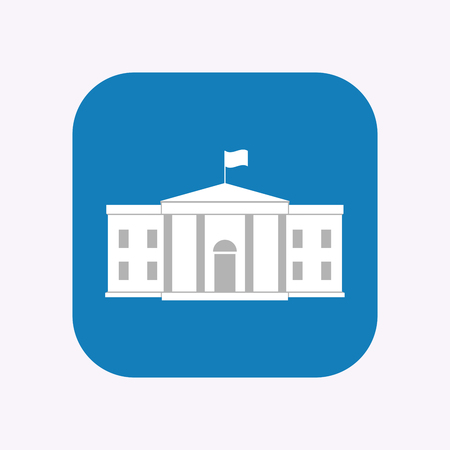 Illustration of a isolated square flat color button with  the White House building