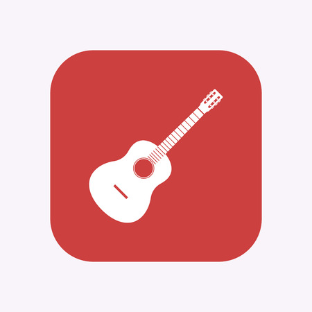 Illustration of a isolated square flat color button with  a six string acoustic guitar