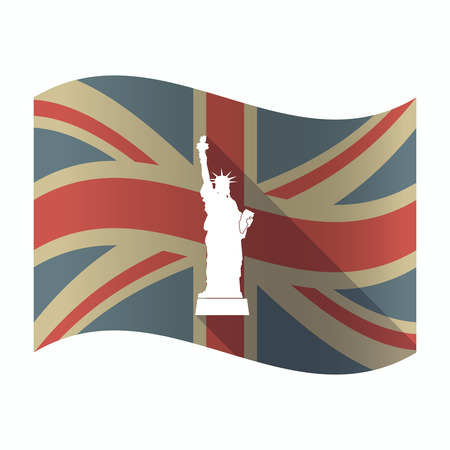 Illustration of a isolated long shadow United Kingdom flag with  the Statue of Liberty