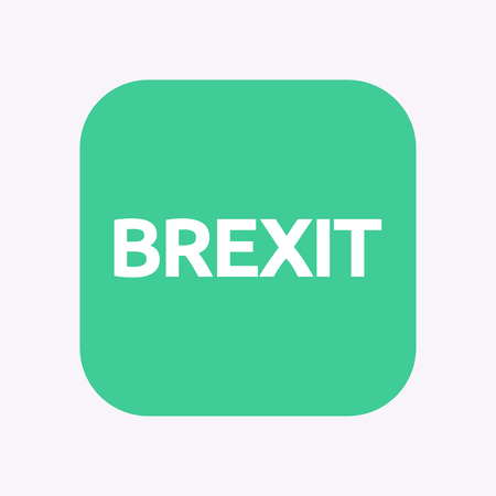 Illustration of a isolated square flat color button with  the text BREXIT