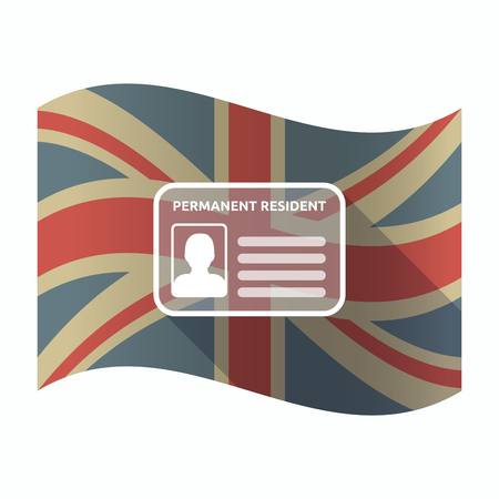 Illustration of a isolated long shadow United Kingdom flag with  a green card Vettoriali