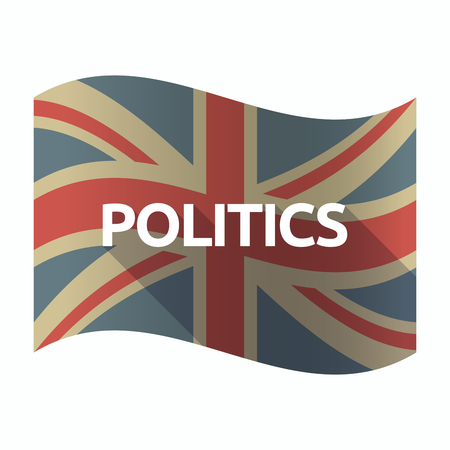 national congress: Illustration of a isolated long shadow United Kingdom flag with  the text POLITICS