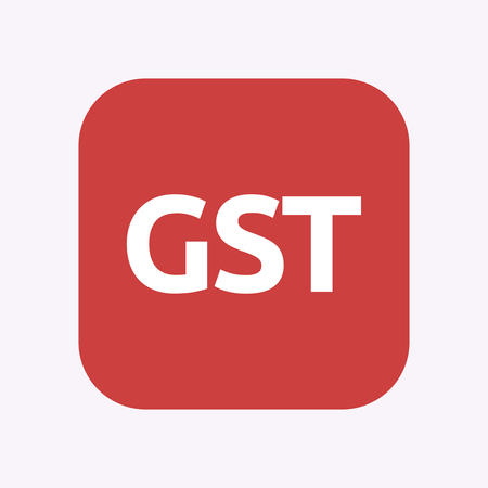Illustration of a isolated square flat color button with  the Goods and Service Tax acronym GST