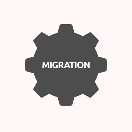 Illustration of a isolated gear cog with  the text MIGRATION