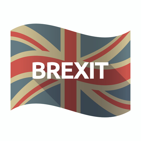 Illustration of a isolated long shadow United Kingdom flag with  the text BREXIT