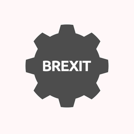 Illustration of a isolated gear cog with  the text BREXIT