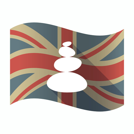 Illustration of a isolated long shadow United Kingdom flag with  a stacked zen stones