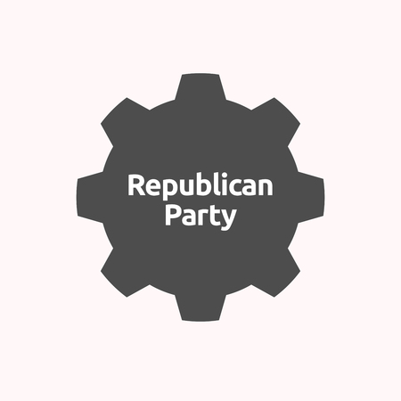 Illustration of a isolated gear cog with  the text  Republican  Party Illustration